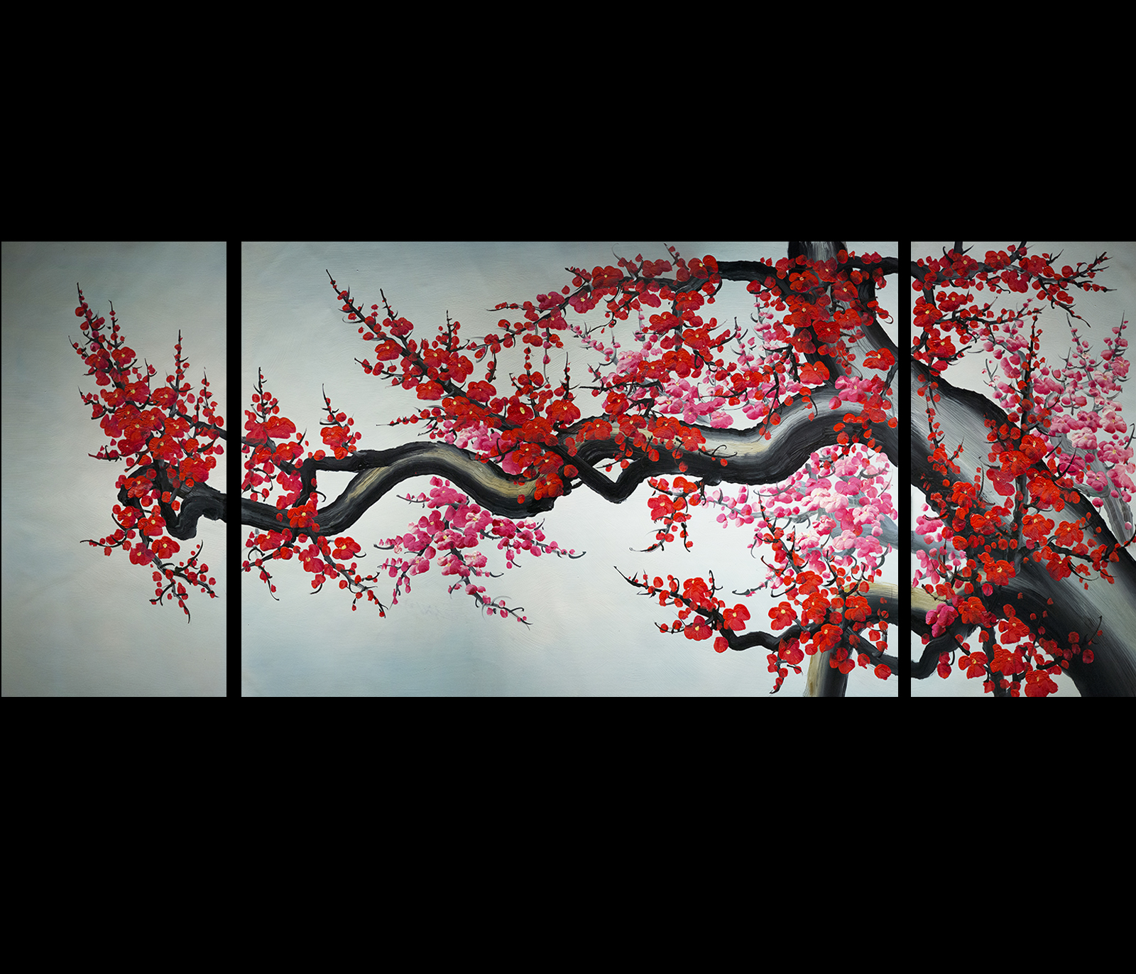 Art feng shui painting koi fish painting japanese koi for Cherry blossom mural works