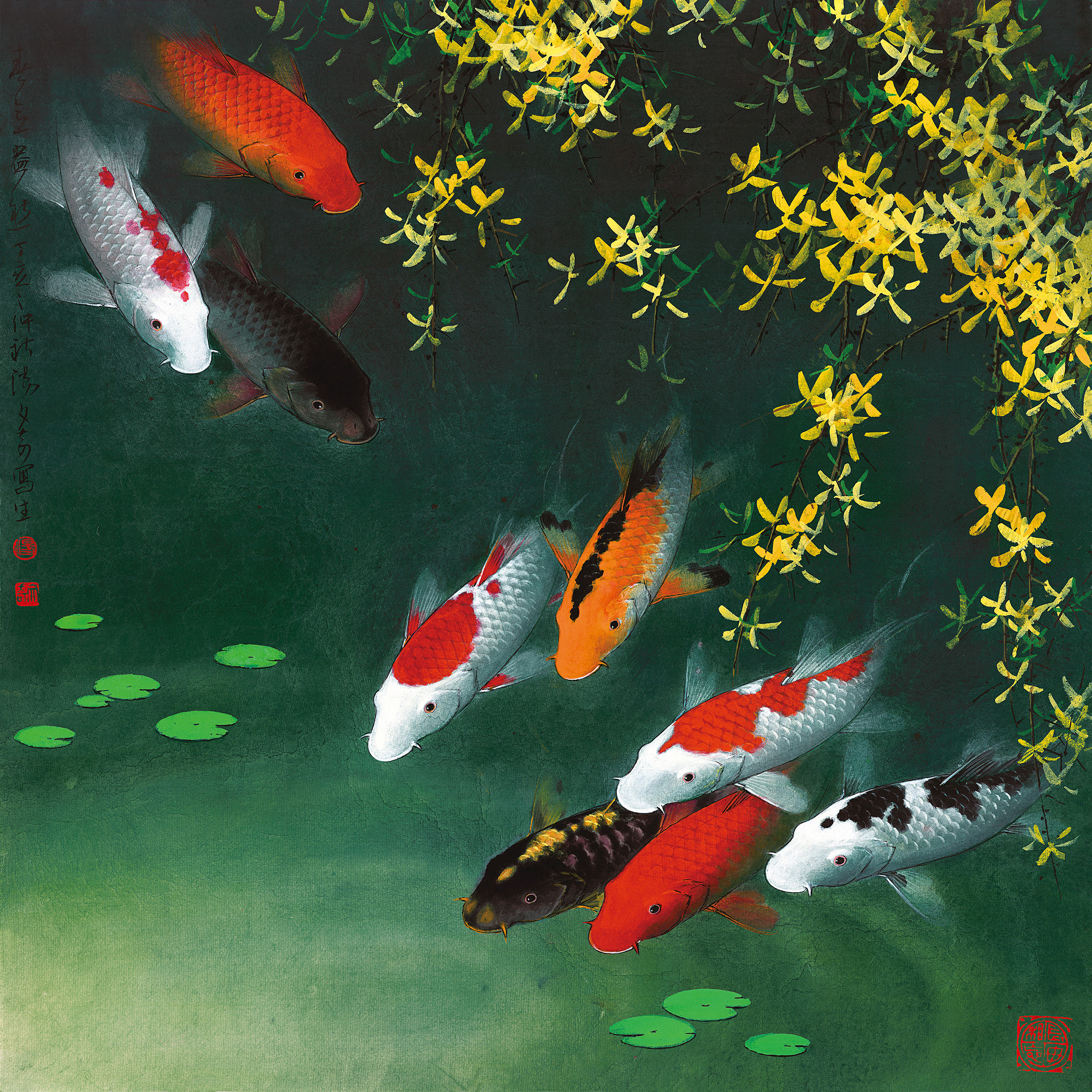 Fine art paintings giclee art prints on canvas koi fish for Koi carp wall art