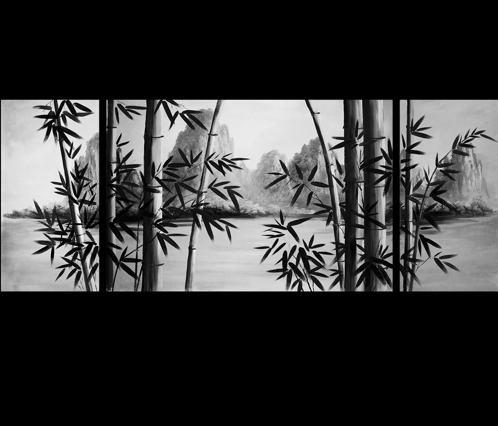 Image gallery japanese bamboo wall art for Asian wall decoration
