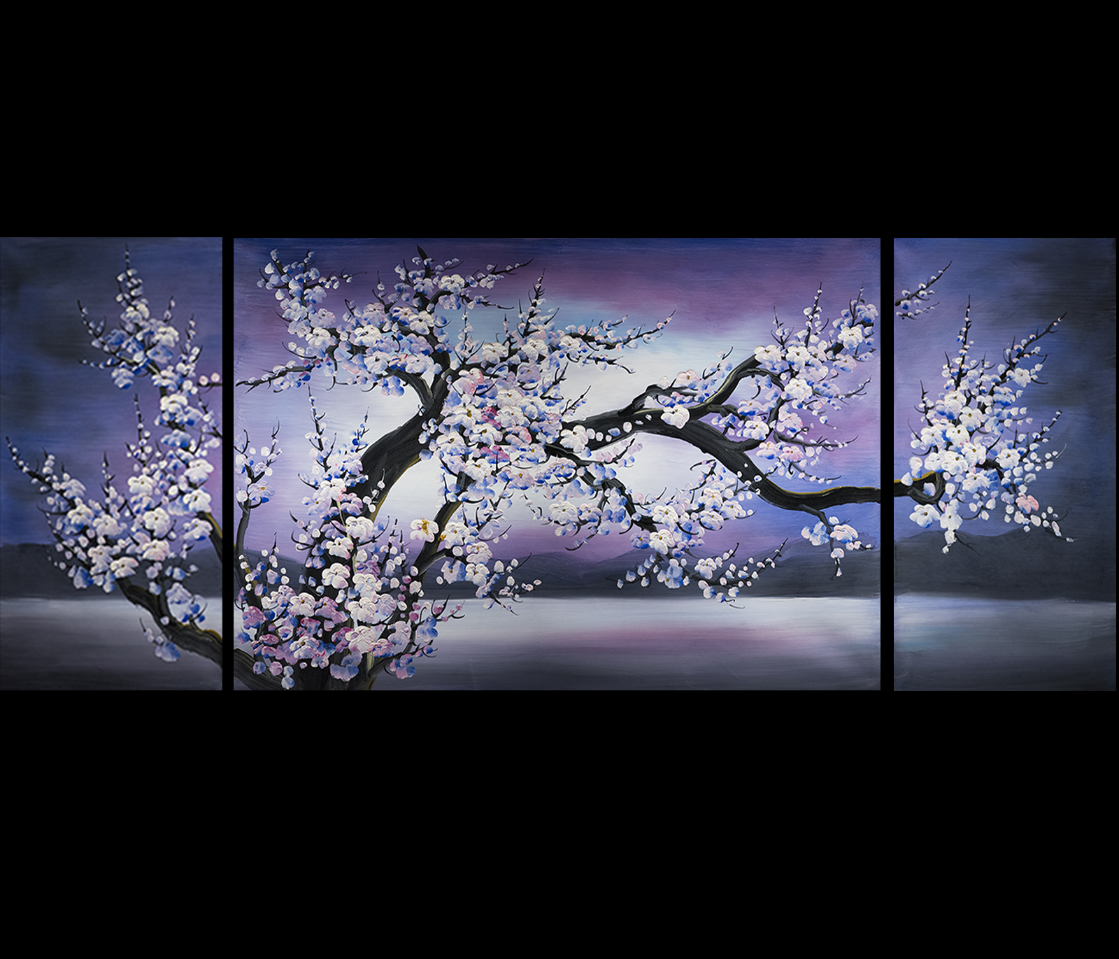 Cherry blossom painting modern contemporary abstract art for Cherry blossom canvas painting