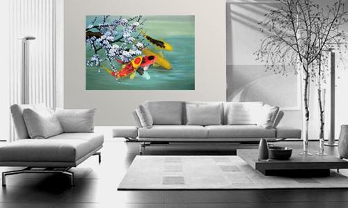 Koi painting koi fish painting feng shui fish painting - Paredes decoradas modernas ...