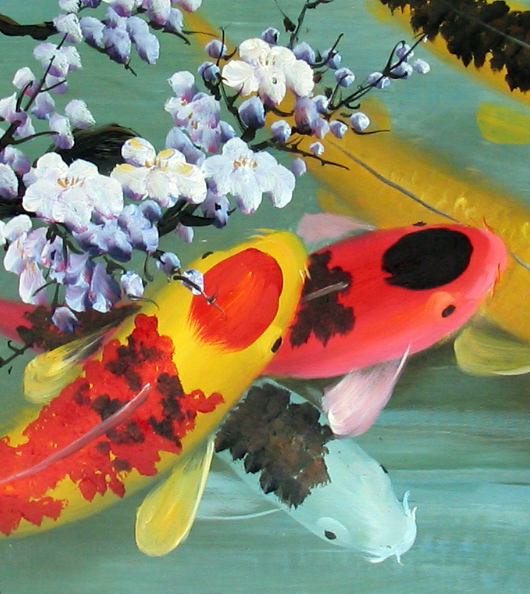 Koi painting koi fish painting feng shui fish painting for Japanese koi carp paintings