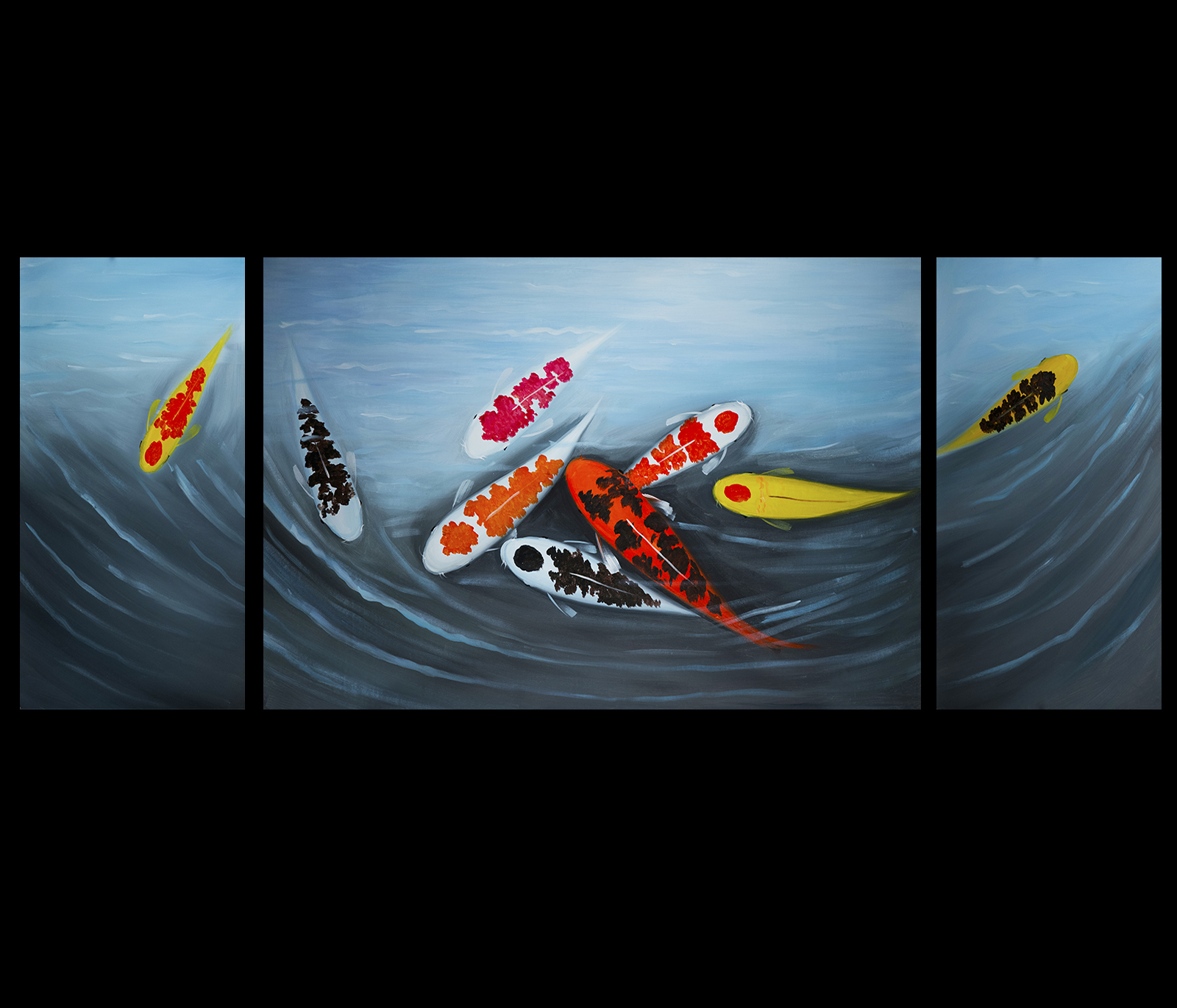 Abstract koi fish painting images for Koi canvas art