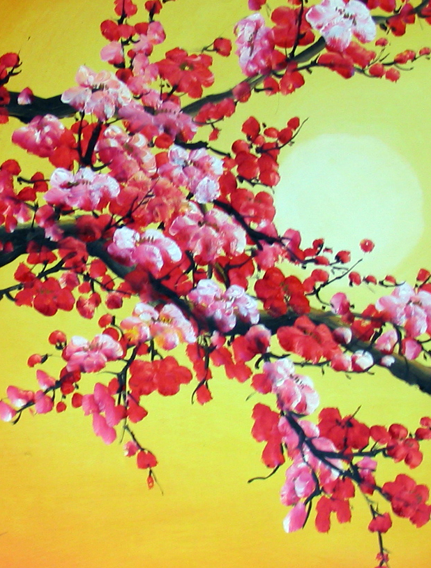 Chinese Feng Shui Painting Cherry Blossom