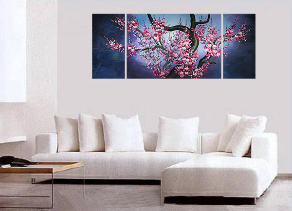 Japanese Cherry Blossom Painting Abstract Art Canvas Wall Art