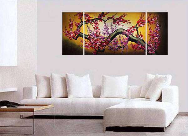 Cherry Blossom Painting Feng Shui Painting Canvas Wall Art Decor
