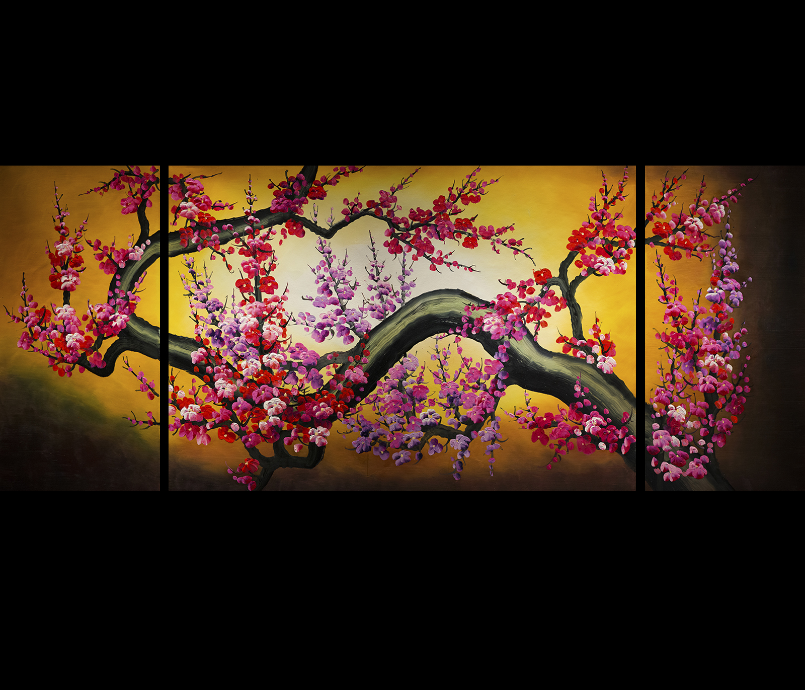 Cherry blossom painting feng shui painting canvas wall art for Canvas painting of cherry blossoms