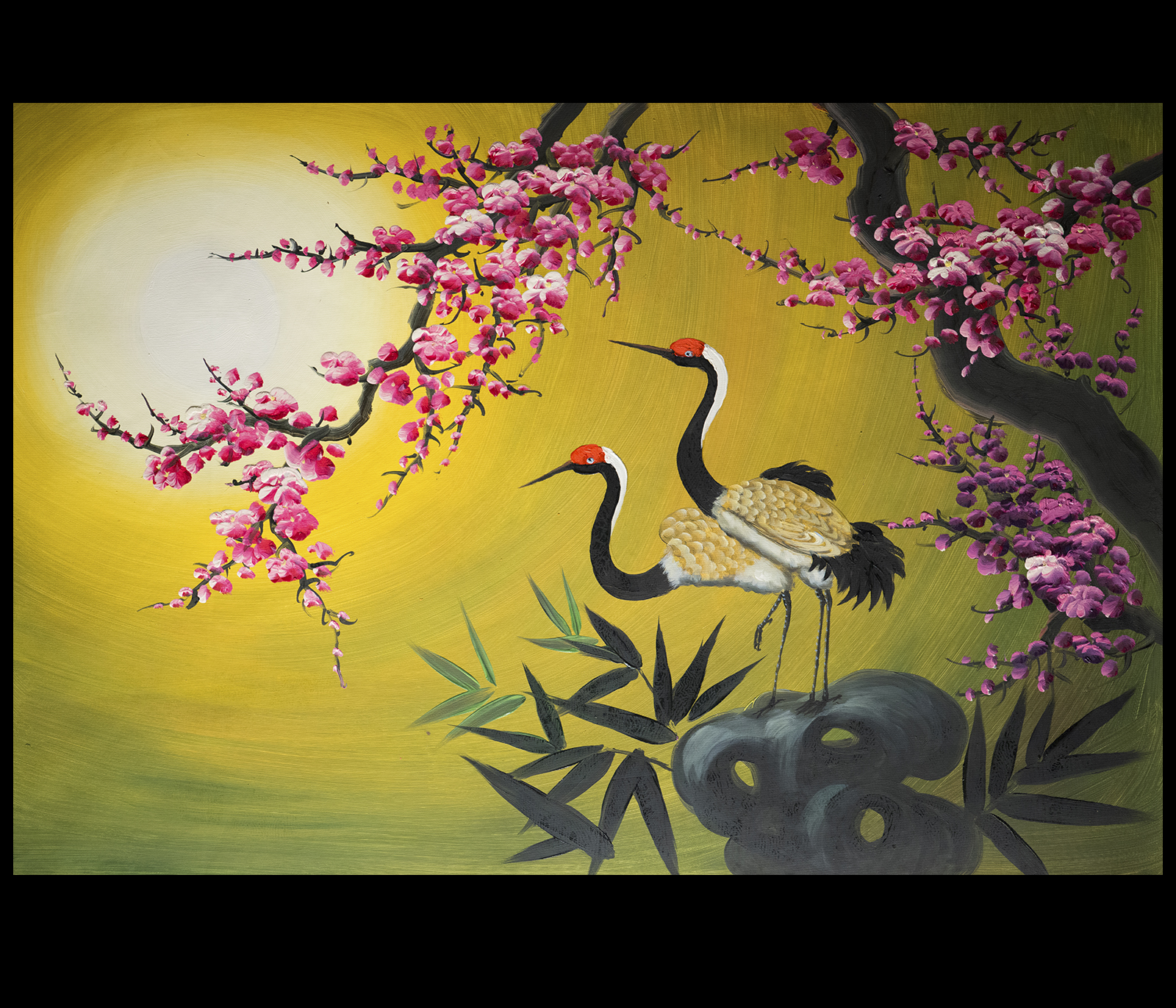 Asian painting asian wall art crane painting for Asian wall art