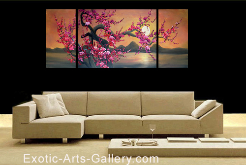Japanese Cherry Blossom Painting Abstract Art on canvas
