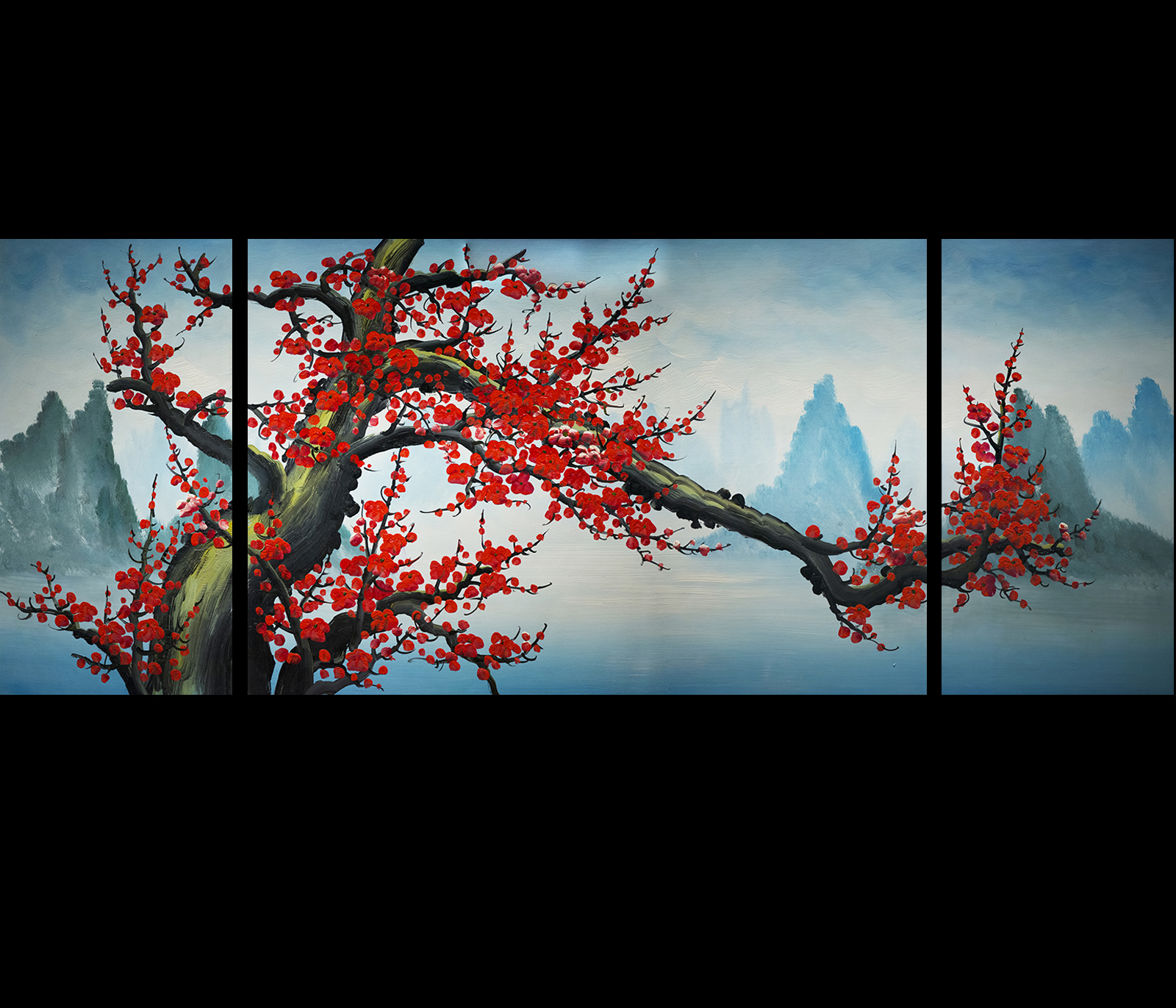 Cherry blossom original abstract painting on canvas art for Canvas painting of cherry blossoms