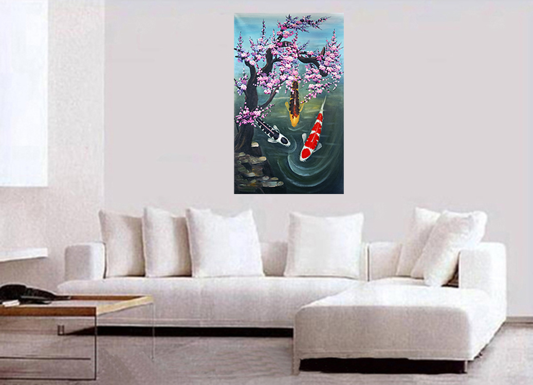Original Abstract Paintings on Canvas Wall Art Decor Koi Fish Painting