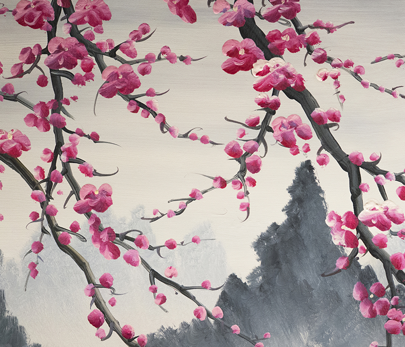 Cherry Blossom Painting Chinese Feng Shui Flower Painting Modern Art