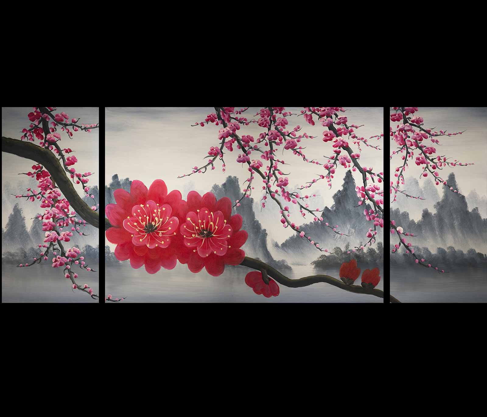 Feng shui canvas art prints giclee art prints on canvas for Cherry blossom mural works