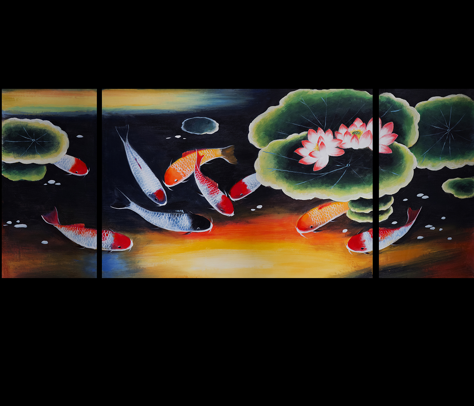 Original painting on canvas modern wall art decor koi fish for Koi artwork on canvas