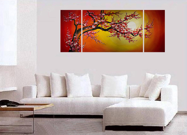 Chinese Cherry Blossom Feng Shui Oil Painting Abstract Art Modern Wall Art