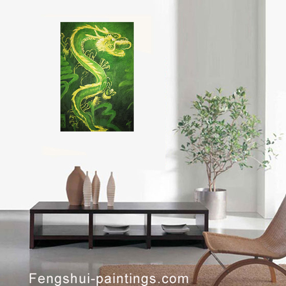 feng shui dragon painting modern wall art decor. Black Bedroom Furniture Sets. Home Design Ideas