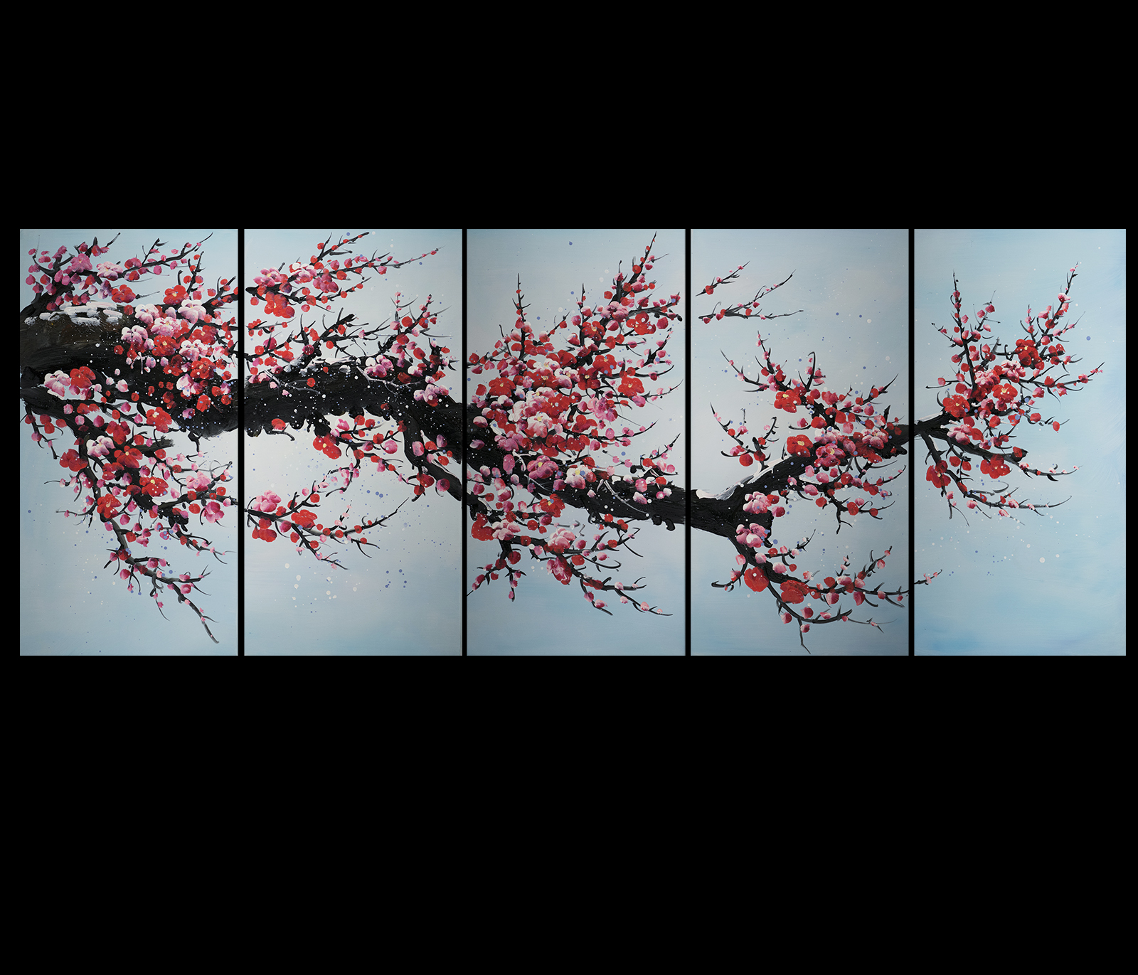Pin by paul on woonkamer pinterest for Cherry blossom canvas painting