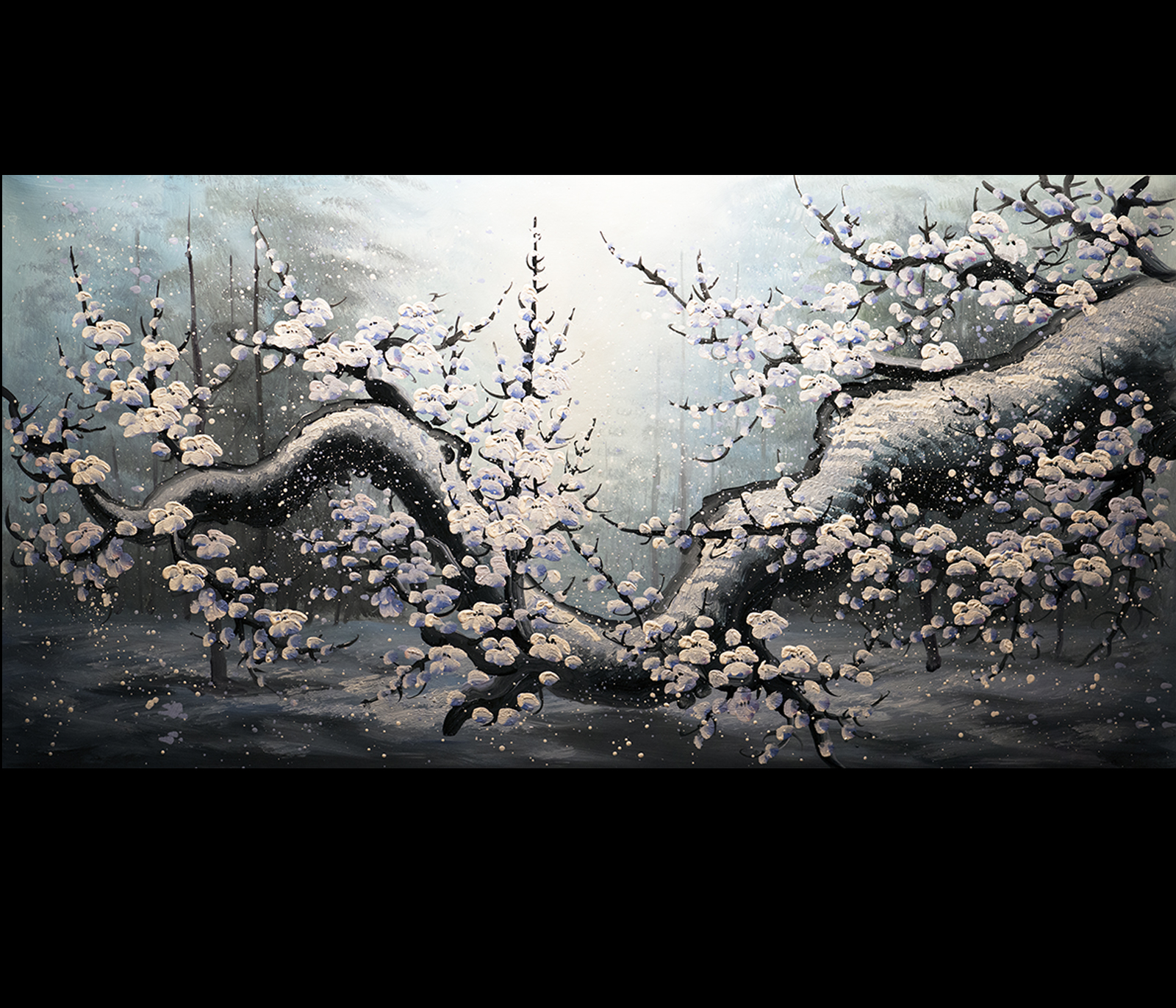 Chinese cherry blossom feng shui paintings original modern for Modern feng shui