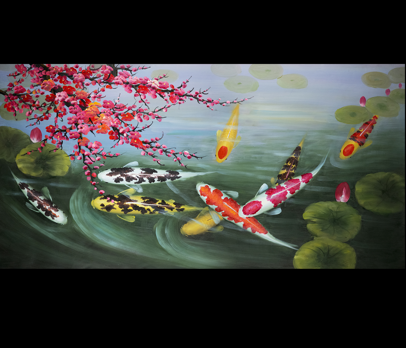 Wall art painting stretched canvas print koi fish wall art for Koi japanese art