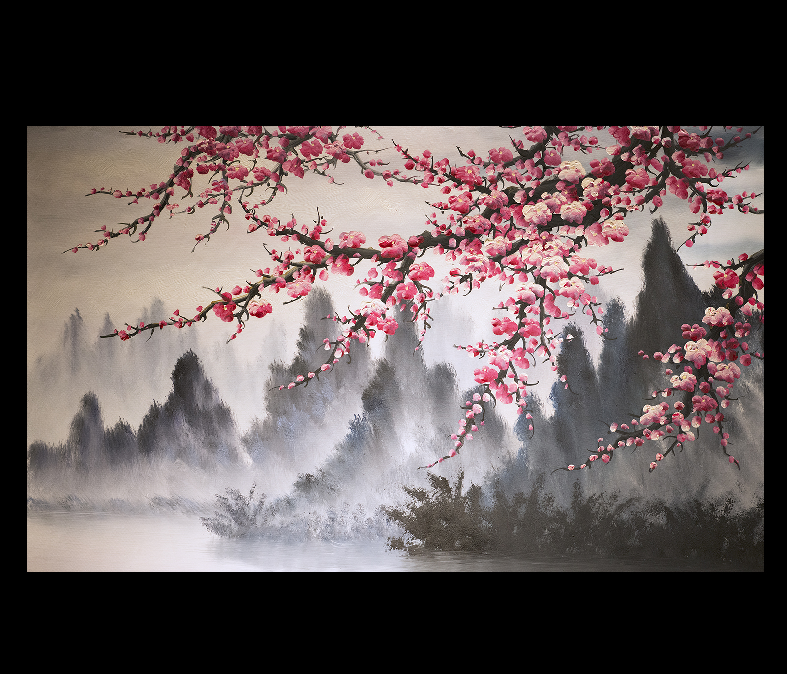 Feng shui paintings original modern painting chinese for Canvas painting of cherry blossoms