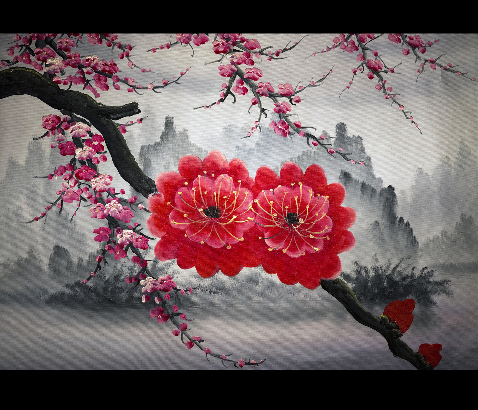 Abstract Art Painting Cherry Blossom Painting Feng Shui Painting