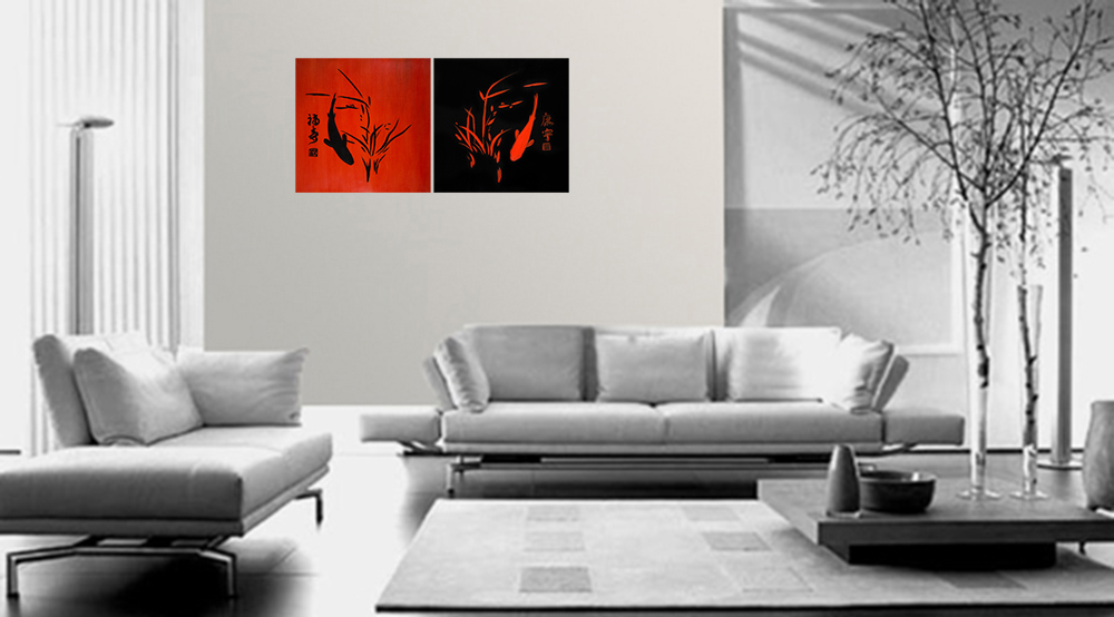 Wall art d cor canvas prints koi fish wall art for Koi canvas print
