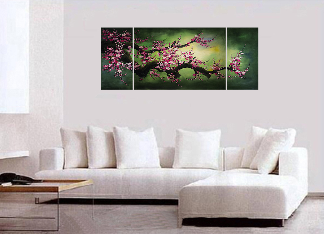 feng shui wall art framed wall art cherry blossom painting feng shui painting with wall decal. Black Bedroom Furniture Sets. Home Design Ideas