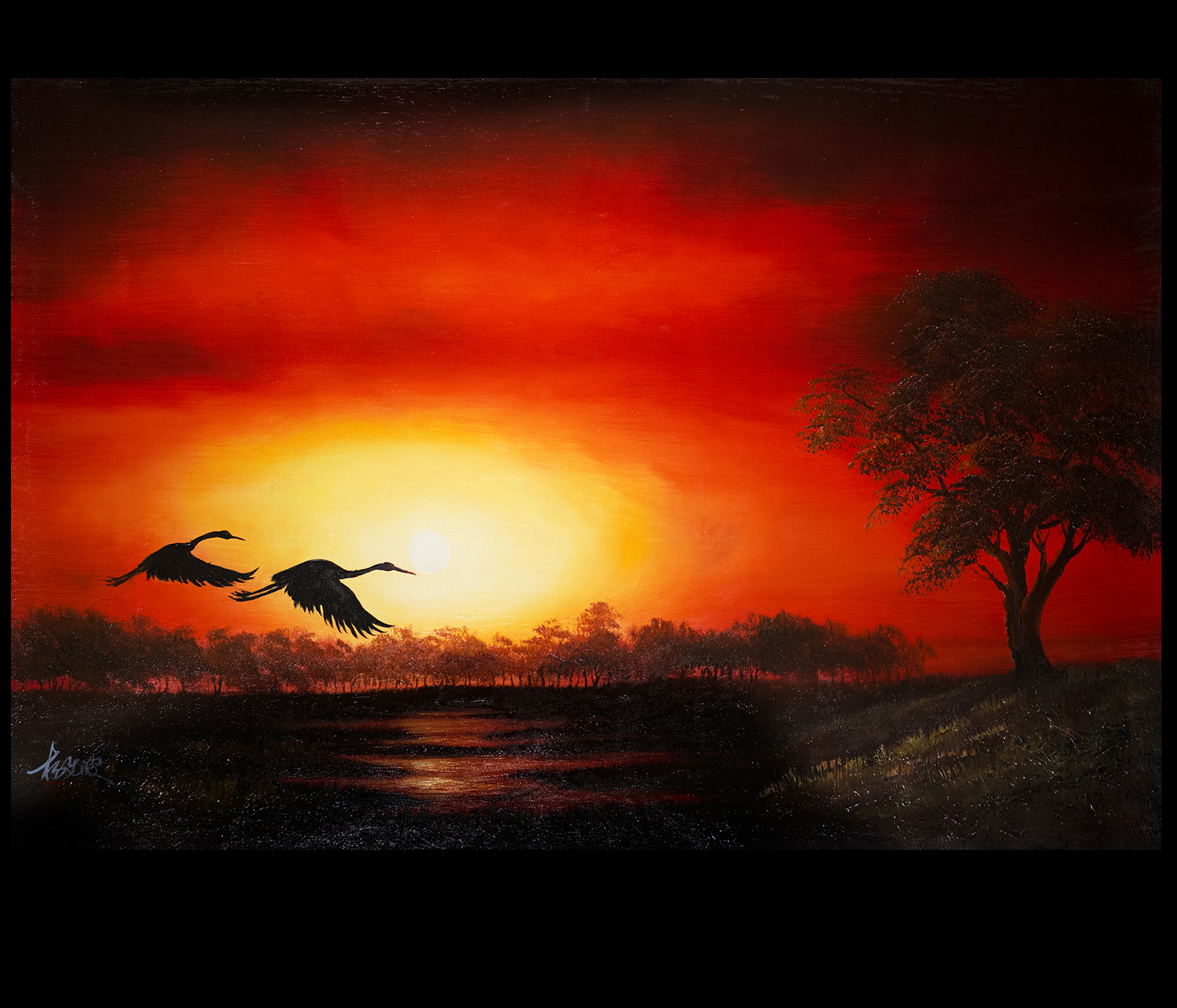 Chinese Crane Painting Canvas Prints Love Birds Modern Wall Art Décor