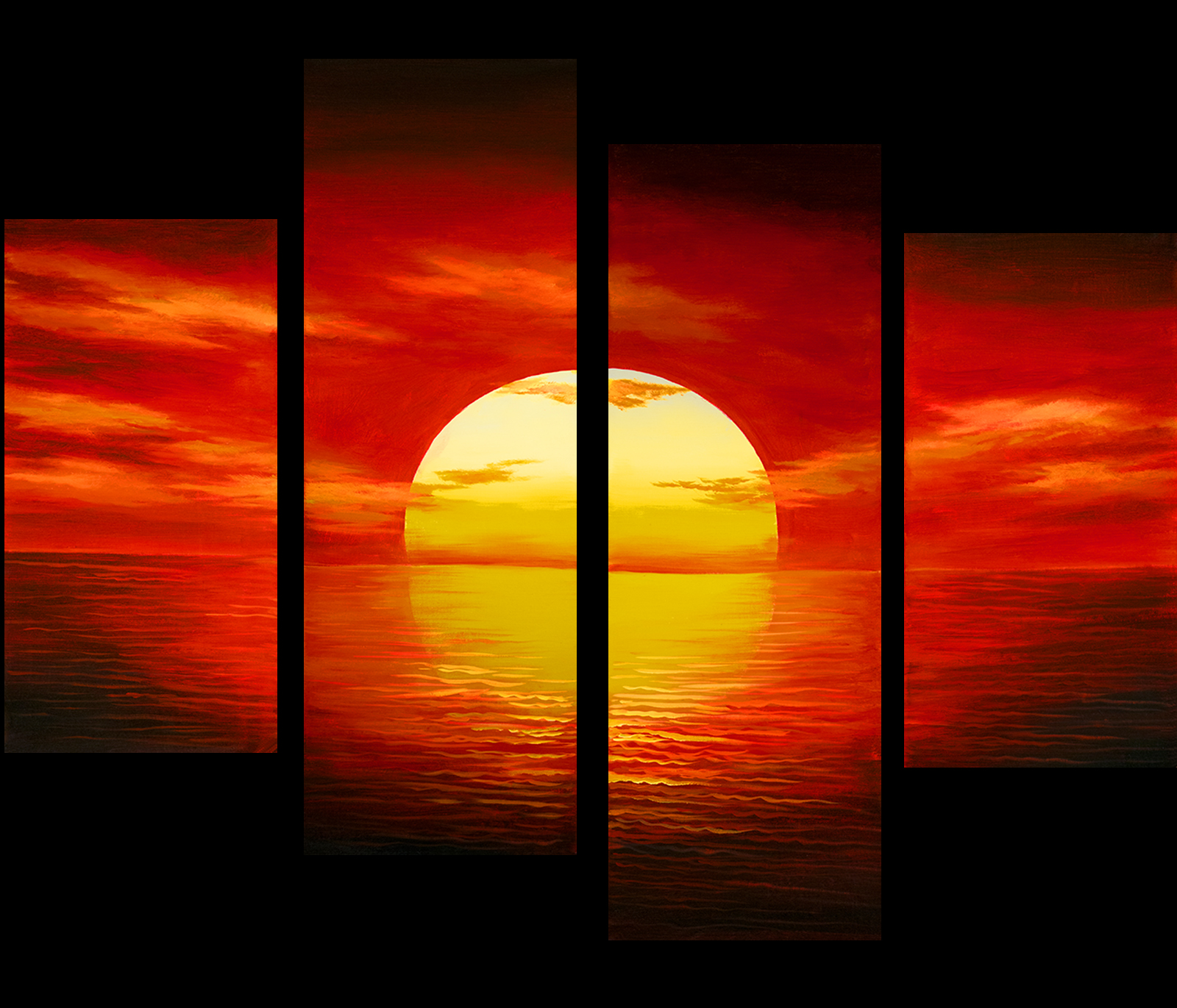 Sunset Painting Canvas Prints Contemporary Art Modern Wall