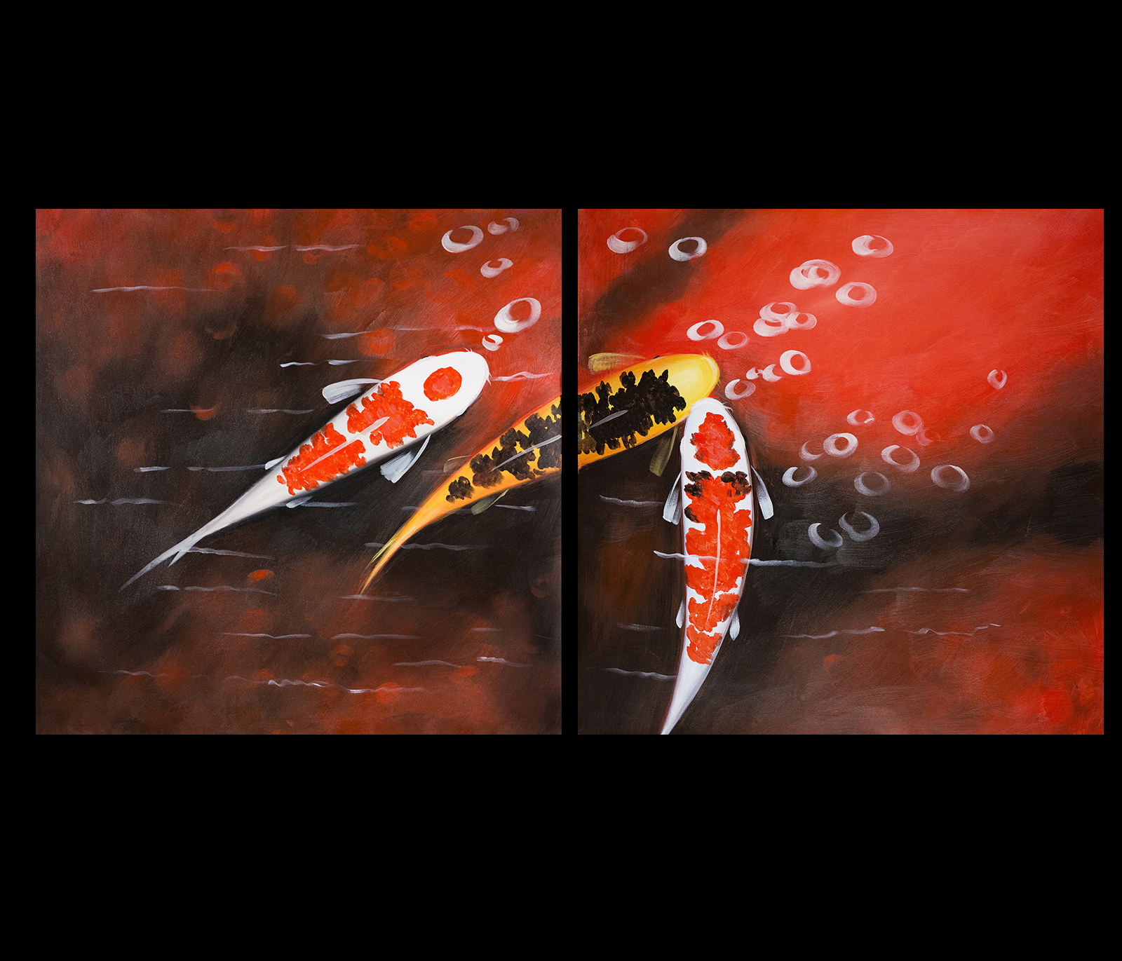 Koi fish wall art contemporary art modern wall art d cor for Koi artwork on canvas