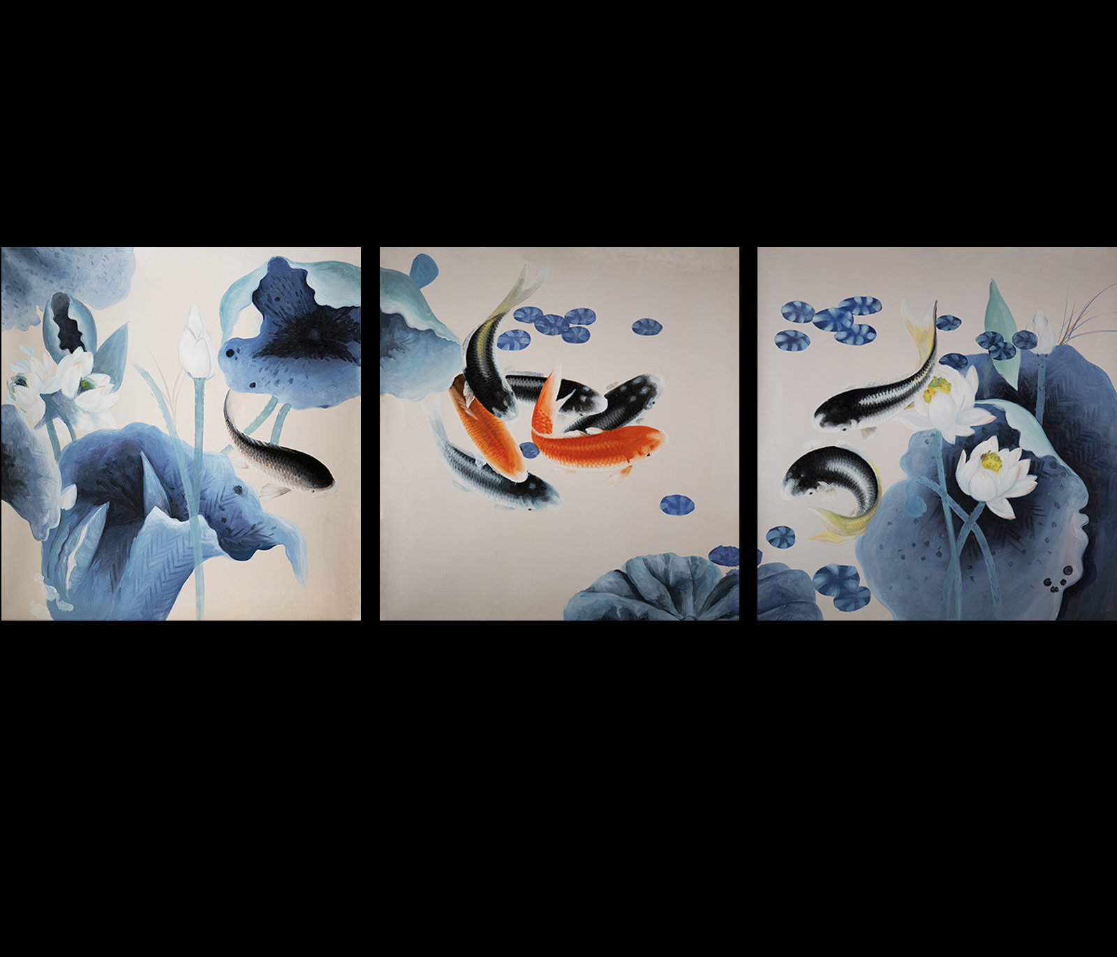 Koi fish painting contemporary art modern wall art d cor for 3 by 3 prints