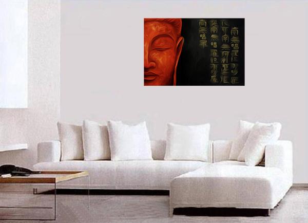 & Modern Contemporary Framed Canvas Wall Art Zen Buddha Painting