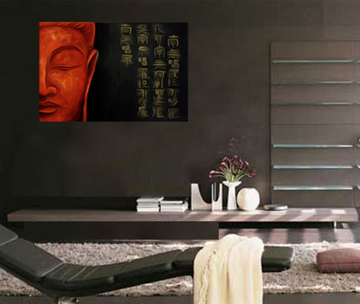 Modern Contemporary Framed Canvas Wall Art Zen Buddha Painting